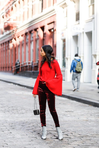 pants tumblr velvet velvet pants burgundy boots silver boots glitter glitter shoes glitter boots top red top bell sleeves