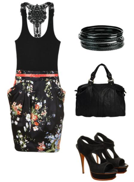 shoes high heels skirt belt set bracelets bracelets bag necklace tank top floral black red