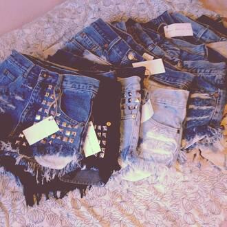 shorts jeans studded shorts levi's vintage denim summer swag ripped jeans girly denim shorts