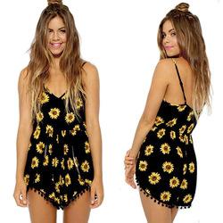 Online shop 2014 new women's vintage sexy black sunflower print tassel sleeveless playsuit jumpsuit romper