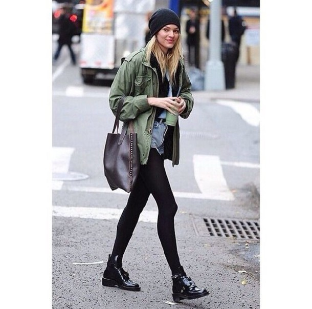 candice swanepoel High waisted shorts beanie celebrity style army green jacket jacket