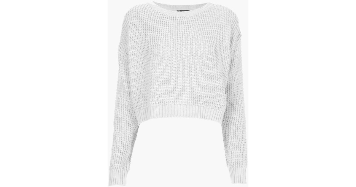 sports shoes best cheap offer discounts Topshop | White Knitted Textured Crop Jumper | Lyst