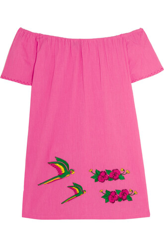 dress mini dress mini embroidered cotton pink
