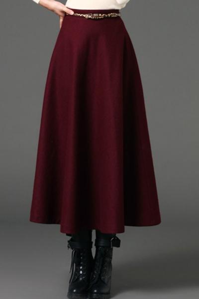 A-line Wool-blend Skirt - OASAP.com