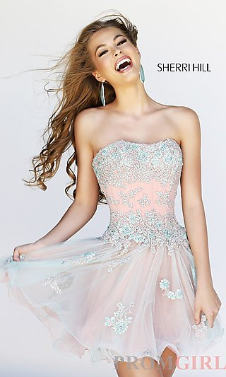 Strapless Short Prom Dress, Lace Corset Party Dresses- PromGirl