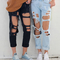 Aliexpress.com : buy women's vogue ripped casual jeans female american apparel boyfriend ripped destroyed cut up pants, blue / black from reliable jeans laser engraving machine suppliers on eminem store