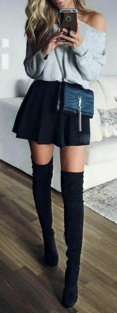 skirt black black skirt pleated pleated dress ysl bag pulover grey sweater high heels black high knee high knee boots