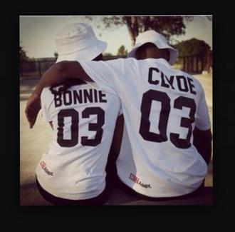 shirt bonnie clyde bonnie and clyde white bonnie & clyde couple shirtrts bonnie and clyde couples jersey shirt