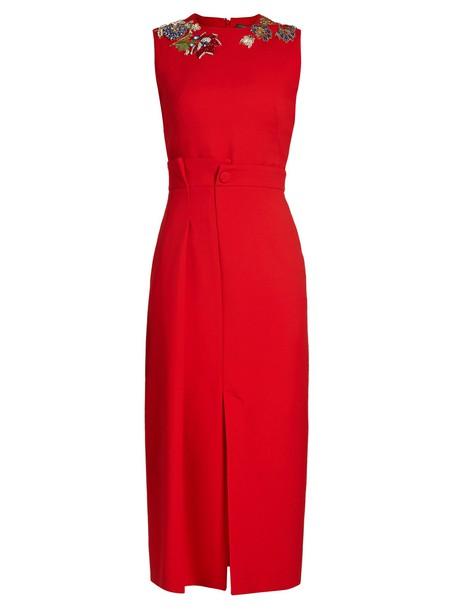Alexander Mcqueen dress pencil dress sleeveless embellished red