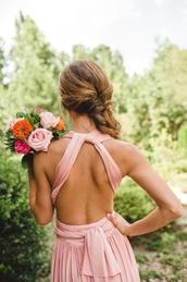 dress,pink,prom,prom dress,pretty,pink dress,gown,summer dress,drape,girl,hair,rose,flowers,tanned,wedding,beautiful,love,backless dress,open back dresses,long bridesmaid dress