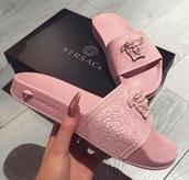 shoes,sandals,versace,pink