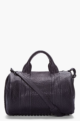 0e2d976b Alexander Wang Black Leather Rocco Studded Duffle Bag for women | SSENSE