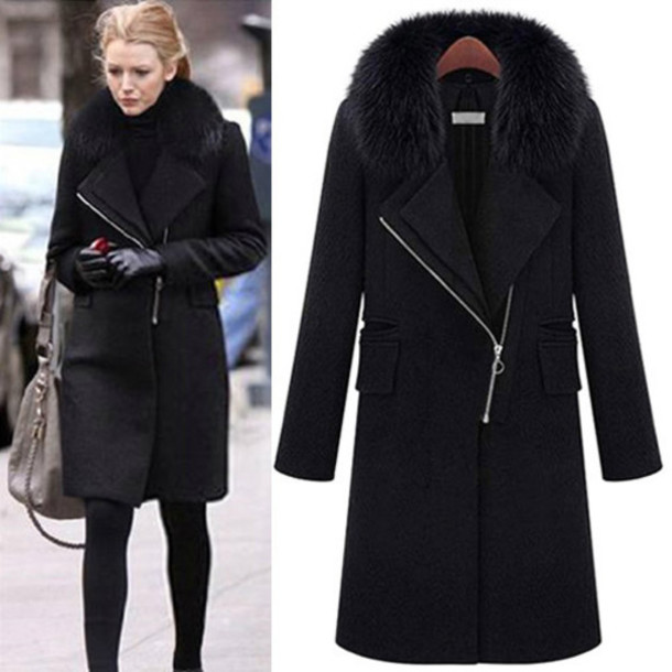 Images of Womens Black Winter Coat - Reikian