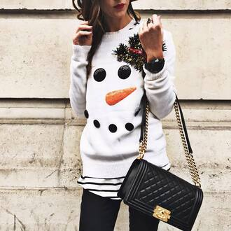sweater tumblr white sweater christmas ugly christmas sweater christmas sweater holiday season bag black bag chanel chanel bag chain bag designer bag chanel boy black watch watch