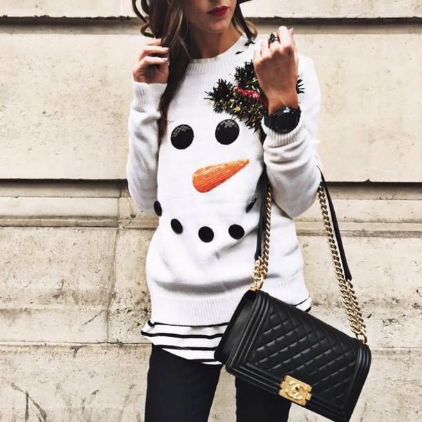 sweater tumblr white sweater christmas ugly christmas sweater christmas sweater holiday season bag black bag chanel chanel bag chain bag
