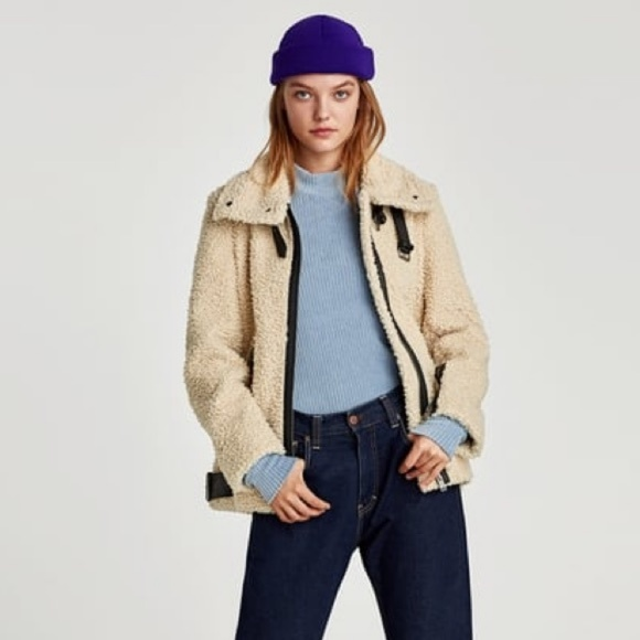 best supplier top-rated fashion big sale Zara Jackets & Coats | Teddy Faux Shearling Aviator Moto Jacket | Poshmark