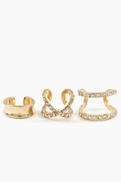 Crystal cuff x midi ring set