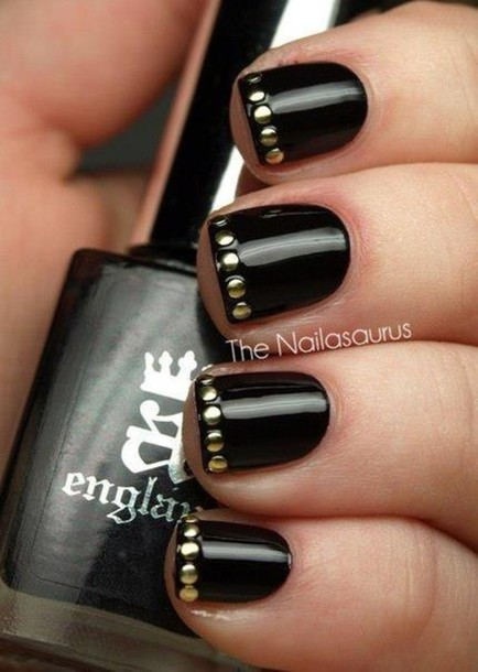 Jewels Nails Nail Polish Art Black Grey Mirror