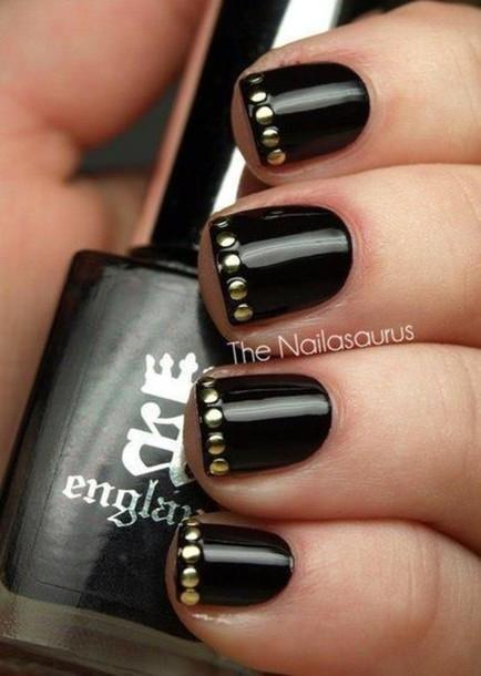 Jewels Nails Nails Nail Polish Nail Art Black Grey Mirror