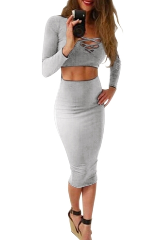 top fashion style grey cropped sexy party trendy dress zaful