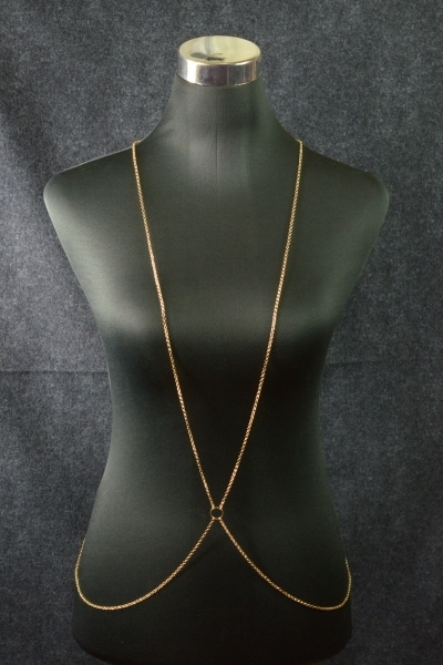 Gold chain link body chain