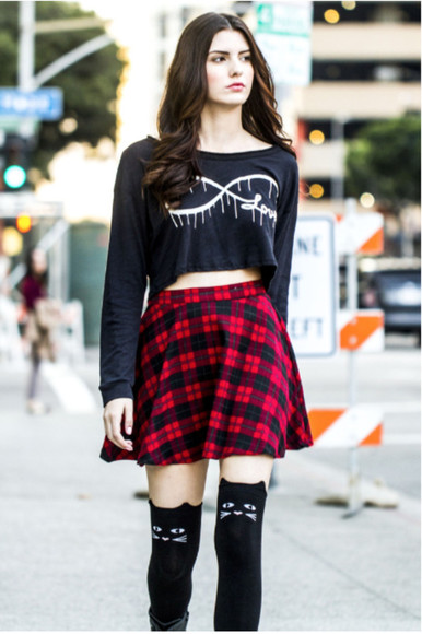 infinity skirt plaid skirt flannel plaid skater skirt hipster hipster skirt hipster styles plaid red black crop top longsleeve shirt longsleeve crop top cats cat socks knee high socks black knee high socks preppy