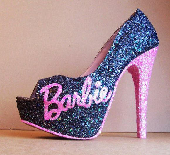 shoes peep toe barbie heels sparkly shoes pink and black heels