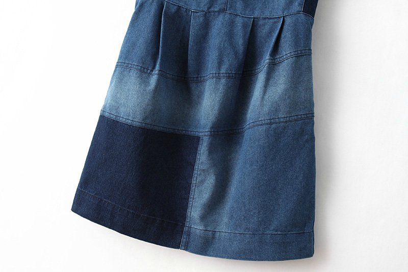 Color Stitch Sleeveless Denim Dress [DLN0403] - PersunMall.com