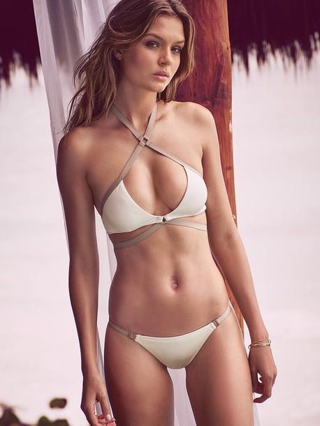 swimwear beige swimwear bikini bikini top bikini bottoms
