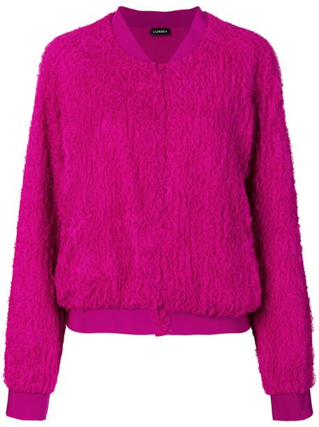 La Perla - textured buttoned sweater - women - Silk/Spandex/Elastane - 2, Pink/Purple, Silk/Spandex/Elastane