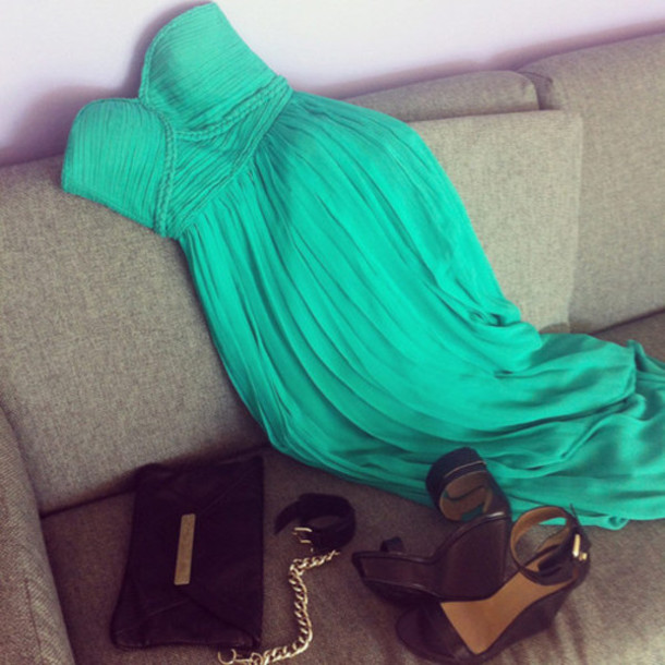 pleated dress teal dress green dress braided sea green dress prom dress maxi dress dress prom mint mint green braid strapless dress strapless sweetheart shoes brown shoes green emerald turquoise dress summer dress