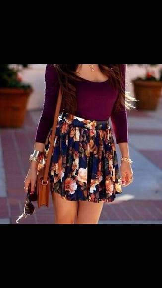 skirt floral skirt long sleeves cute outfit flowers, skirt, summer, short