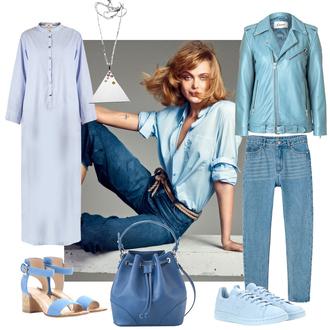 look de pernille blogger jeans blue bag bucket bag blue light blue blue shirt blue jacket