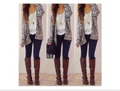 boots,cardigan,shoes,grey cardigan