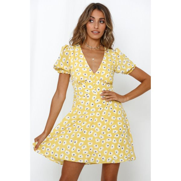 Take Me Back In Time Dress Yellow