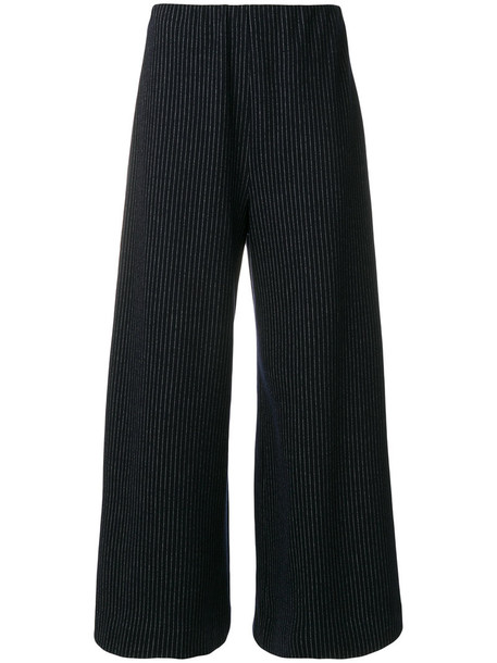 HARRIS WHARF LONDON cropped women cotton blue wool pants