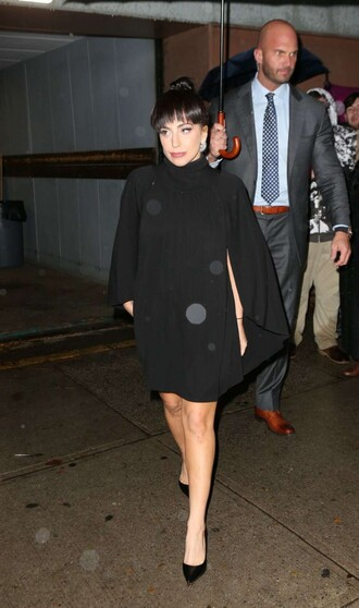 coat cape lady gaga fall outfits black