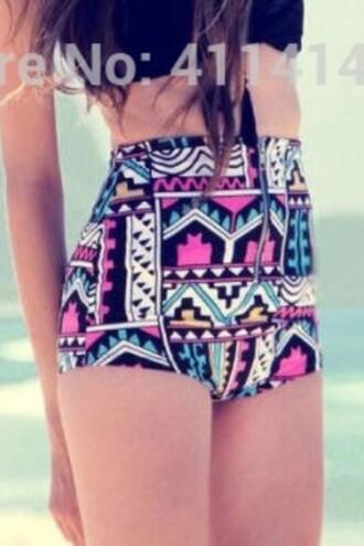 swimwear high waisted geometric multicolor bikini bottoms
