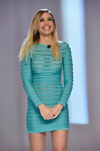 dress turquoise transparent stripes