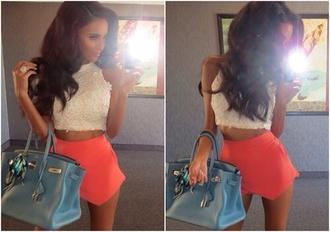 lilly ghalichi skort orange skirt shorts skirt asymmetrical top