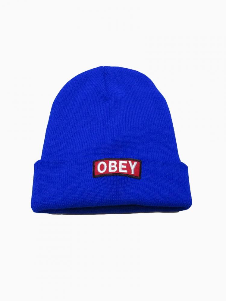 Navy Blue Letters Wool Cap Choies