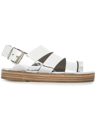 cut-out women chunky sole sandals leather grey metallic shoes