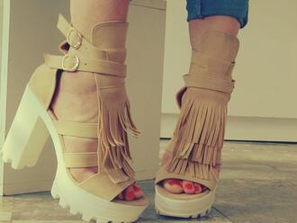 shoes boots shoes grunge summer shoes cream high heels