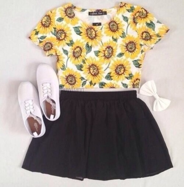 shirt white bow white shoes crop tops sunflower sunflower shirt black skirt shoes skirt