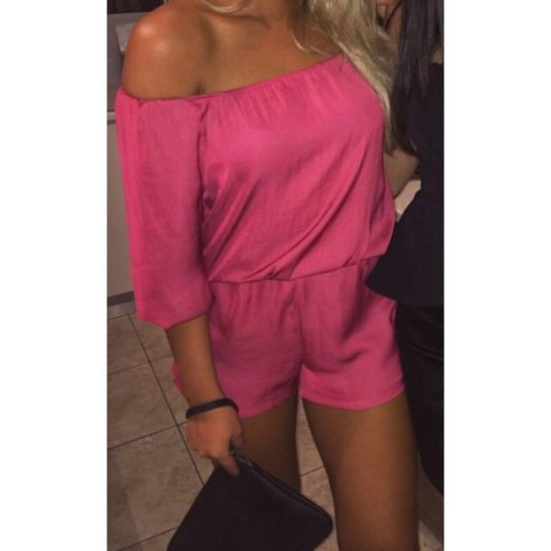 jumpsuit pink silk off the shoulder