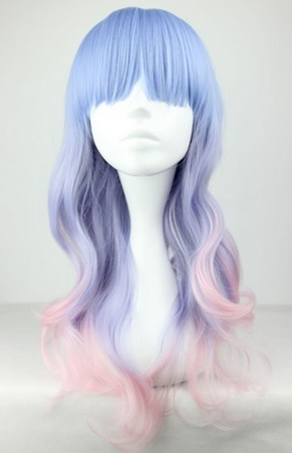 Blue and pink mixed wig from creepy cute clothing on storenvy