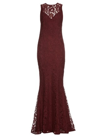 gown lace burgundy dress
