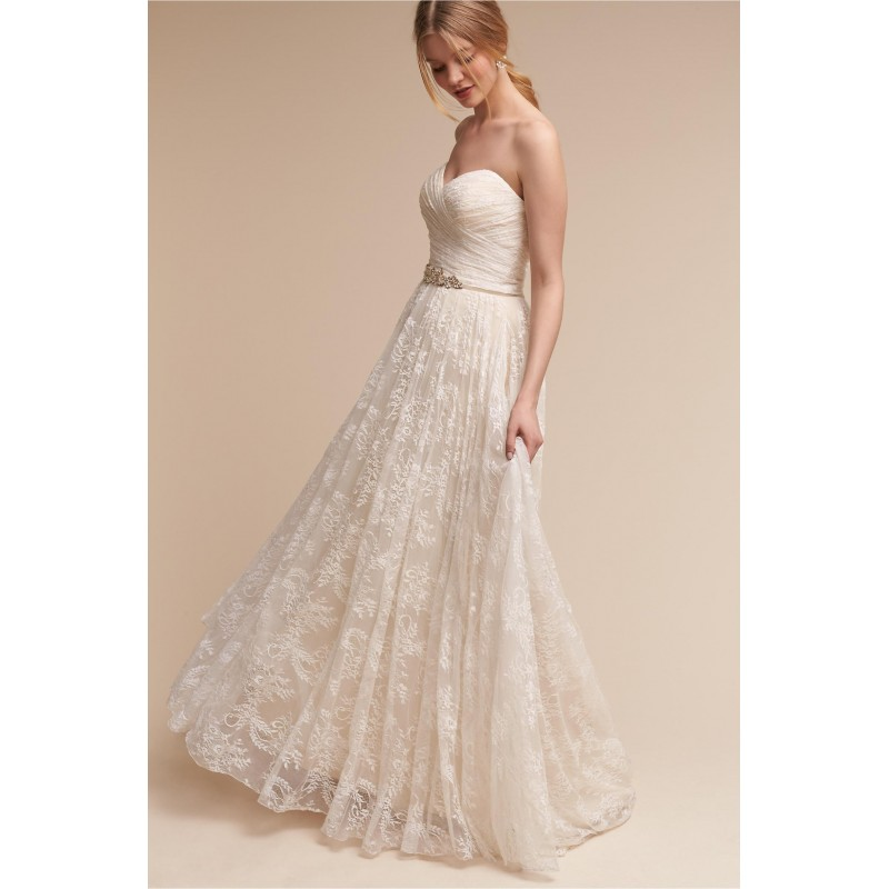 BHLDN Spring/Summer 2017 Freesia Aline Sweetheart Ivory Sweet with Sash Chapel Train Lace Sleeveless Bridal Dress - Top Design Dress Online Shop