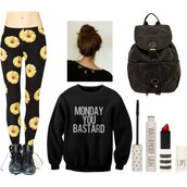 sweater,leggings,floral,grunge,soft grunge,funny,tumblr,hipster,monday,clothes,quote on it,bag,pants,black,black sweater,mondays,grunge sweater,tights