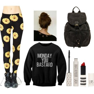 sweater leggings floral grunge soft grunge funny tumblr hipster monday clothes quote on it bag pants black black sweater mondays grunge sweater tights